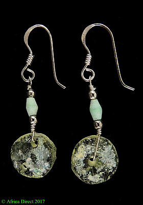 Ancient Roman Glass Earrings Beads Green Bowl Fragments Afghanis SALE WAS $22.00