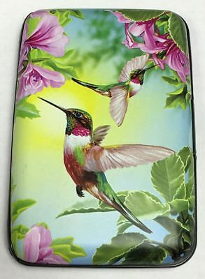 Hummingbird with Purple Flowers RFID Theft Protection Credit Card Armored Wallet