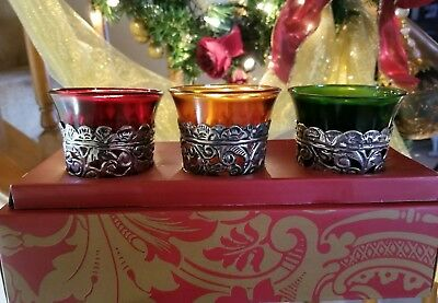 Dept56 Anna Griffin 3 Metal Trimmed Votive Candle Holders Ruby Amber Green Glass