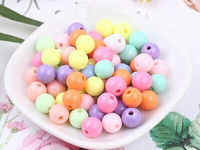 100 Mixed Pastel Color Acrylic Round Beads 12mm Smooth Ball Spacer