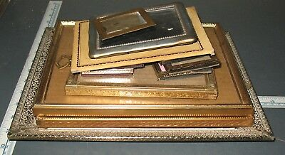 Lot of Vintage Pressed Brass Picture Frames Shabby Decor Gold Metal