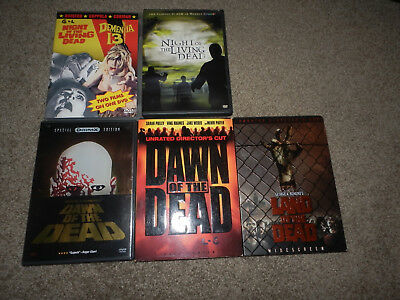 NIGHT OF THE LIVING DEAD DAWN LAND OF THE DEAD GEORGE ROMERO DEMENTIA DVD LOT x5