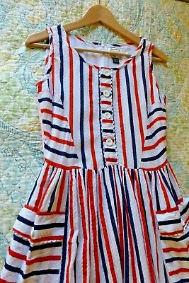 Joanie Vintage Style Cotton Dress 4 S Red White Blue Striped POckets ModCloth