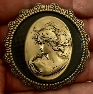 "ART NOUVEAU On Large Stamped Brass~Antique And Vintage~Picture Button~2"" INCH"