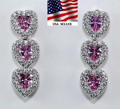 2CT Pink Sapphire & Topaz 925 Solid Sterling Silver Heart Earrings Jewelry