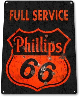 Full Service Phillips 66 Rustic Gas Oil Vintage Retro Tin Metal Sign