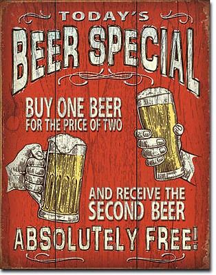 Today's Beer Special Tin Sign 13 x 16in