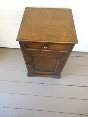 Neat Dark Oak Bedside Cabinet Nightstand Pot Cupboard From England