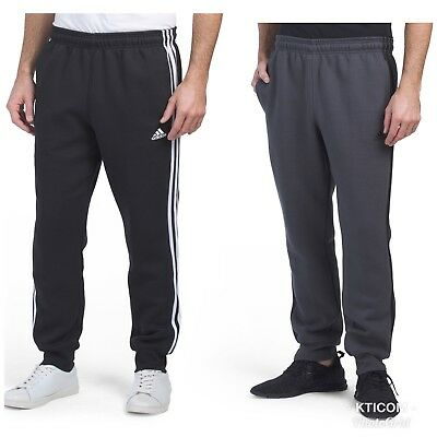 NWT adidas Men's ESSENTIALS 3-STRIPES JOGGER PANTS Classic Black/White or Gray