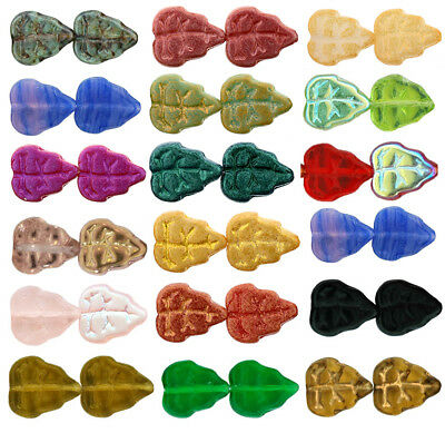 25 Czech Glass Leaf Beads 10mm  Opaque Shimmer  Suede  & Polychrome Colors