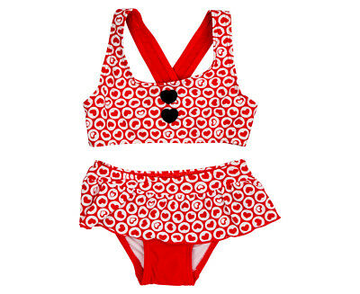 Cupid Girl Baby/Toddler Bubble Hearts Frill Bikini Set - Fire Red