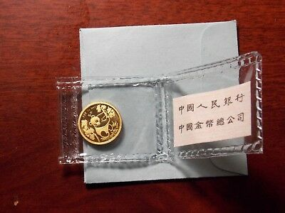 1992 China 1/20 oz Gold Panda 5 Yuan coin Original Mint Sealed with paper insert