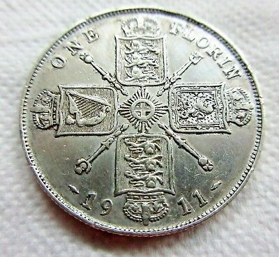 Very Fine Great Britain 1 Florin 1911 Weighs 11 Grams Of 925 Silver