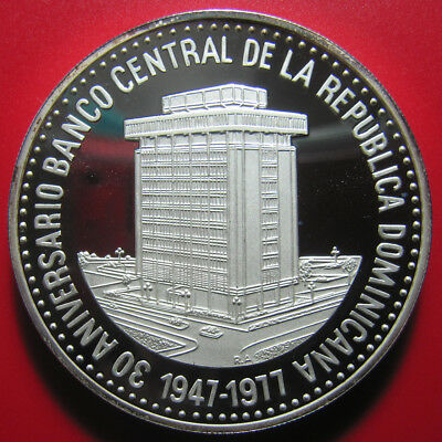 1977 DOMINICAN REPUBLIC 30 PESOS PROOF 2.3oz SILVER CENTRAL BANK HUGE COIN! 50mm