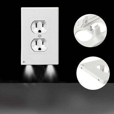 4 PACK Duplex Night Angel Light Sensor LED Plug Cover Wall Outlet Coverplate USA