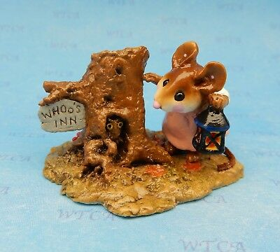 WHOO's INN by Wee Forest Folk, WFF# M-249, Retired, Mouse with Owl