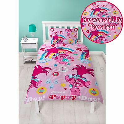 Trolls Dreams Single Duvet Cover Set Poppy Pink Girls - 2 In 1 Design