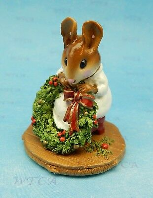 WREATHMAKER by Wee Forest Folk, WFF# M-231 White, Retired Christmas Mouse