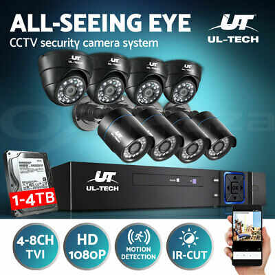 UL-TECH CCTV Security Camera 1080P HDMI 4CH 8CH Home Outdoor System Hard Drive
