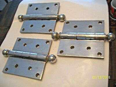Nice Set Of 3 Chrome Plated, Heavy 1 1/2 Pound Each, Solid Brass Door Hinges