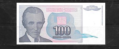 YUGOSLAVIA #139a 1994 UNC MINT 100 DINARA OLD BANKNOTE PAPER MONEY CURRENCY NOTE