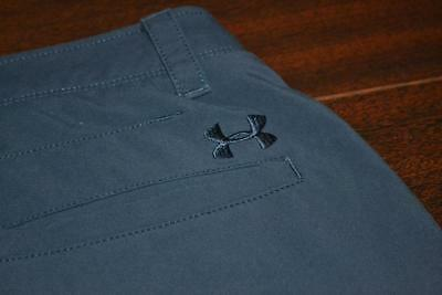 9681-e Mens Under Armour Golf Pants TEEN FLAT FRONT Size 34 x 32 Polyester Blue