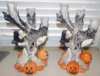 Beautiful Fitz & Floyd Halloween Candelabra Pumpkin Ghost Vulture Candle Holder