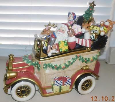 Fitz & Floyd Signature Collection Santa Car Cookie Jar, Ltd Ed. Mint In Box