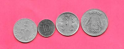 India Indian 4 Different 1988-2012  Circ Coin Lot Collection Set Group W Old