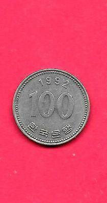 South Korea Km35.2 1992 Xf-Super Fine-Nice Large Old Vintage100 Won Coin