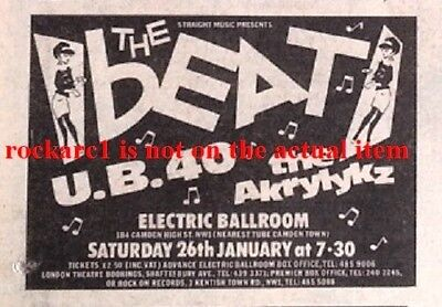 The BEAT UB40 UK TIMELINE Advert - Electric Ballroom Sun-26-Jan-1980 2x3 inches