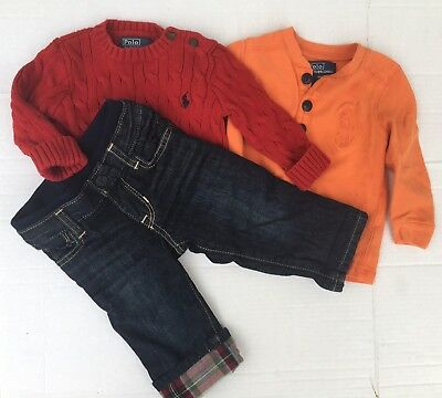 Ralph Lauren Big Pony Baby GaP Boy 6 9 12 months lot 3 Lined Jeans Shirt Sweater