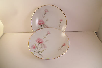 Vintage Royal Court Fine China Japan Carnation Pair of Berry Dessert Bowls