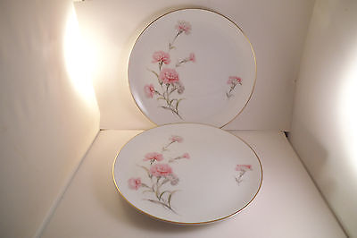 Vintage Royal Court Fine China Japan Pink Carnation Pair of Dinner Plates