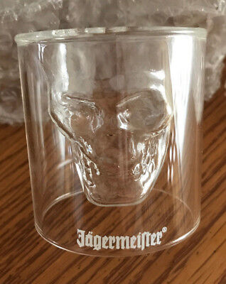 New In Box Jagermeister Set of 4 Shot Glasses Clear Lucite Skeleton Face Rare