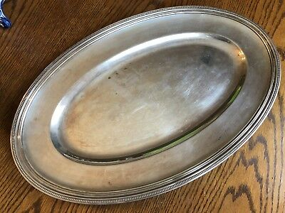 Antique 19th Century Christofle French Silver Plate Oval Beaded Serving Tray