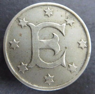"Unknown Maverick Token ""J"" & ""E"" Size and Color of a Nickel #340"