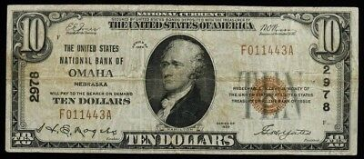 1929 Series The United States National Bank Omaha Nebr $10 Nat'l Currency F / Vf