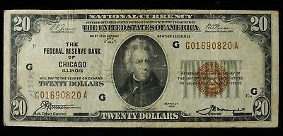 1929 Series The Federal Reserve Bank Of Chicago Il $20 National Currency Fine