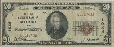 1929 $20 The FirstNational Bank Of Bellaire Ohio Charter # 1944 National