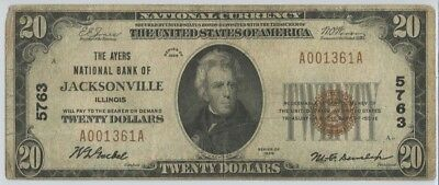 1929 $20 The Ayers National Bank Of Jacksonville Illinois CH# 5763 National