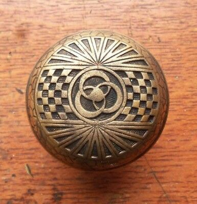 Antique Fancy Ornate TwoFold Bronze Doorknob Door Knob c1890 Mallory Wheeler