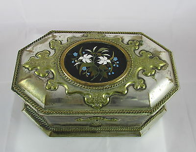 Victorian English Howell James Silver Plate Black&Green Tea Casket Pietra Dura