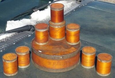 Primitive Antique Bent Wood Spice Tin Box with 8 Shaker Style Spice Containers