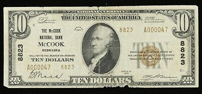 1929 Series The Mccook National Bank Nebraska  $10 National Currency F Fine