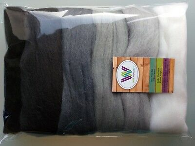 Grey set* Pure Wool Tops for felting 6 colours: white grey black, pack of 60g
