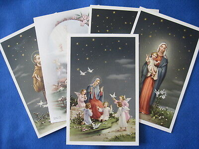 Lot of 5 Pretty Catholic Antique Vintage LARGE HOLY CARDS Francis Mary Jesus