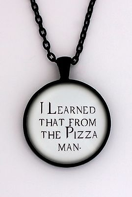 I LEARNED THAT FROM THE PIZZA MAN Castiel Supernatural Quote Necklace Pendant
