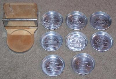 Set Of 8 Vintage Aluminum Stanhome Coasters With Wooden Dovetailed Holder
