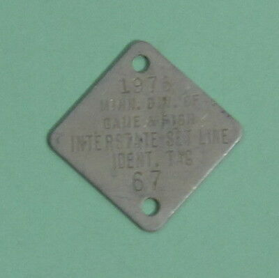 1975 Minnesota Boundary Waters Interstate Setline License Tag ...Free Shipping!